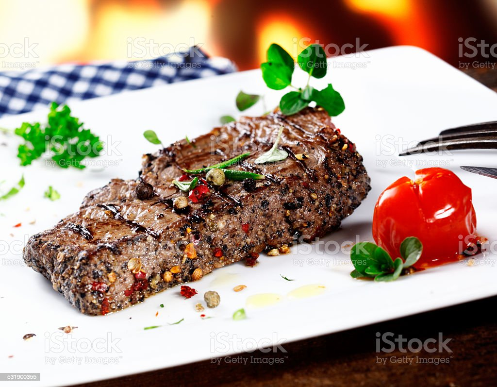 Serving of grilled beef steak stock photo