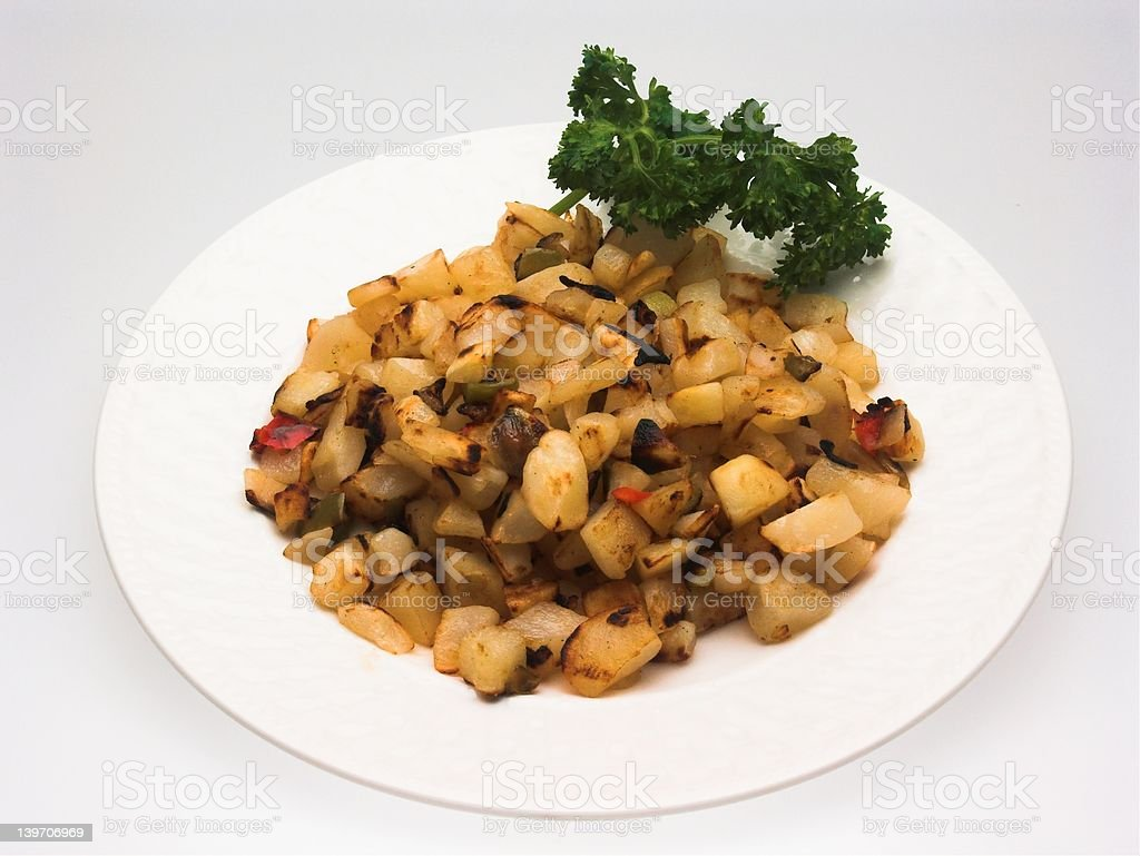 Serving of Hash Brown Potatoes O'Brien royalty-free stock photo