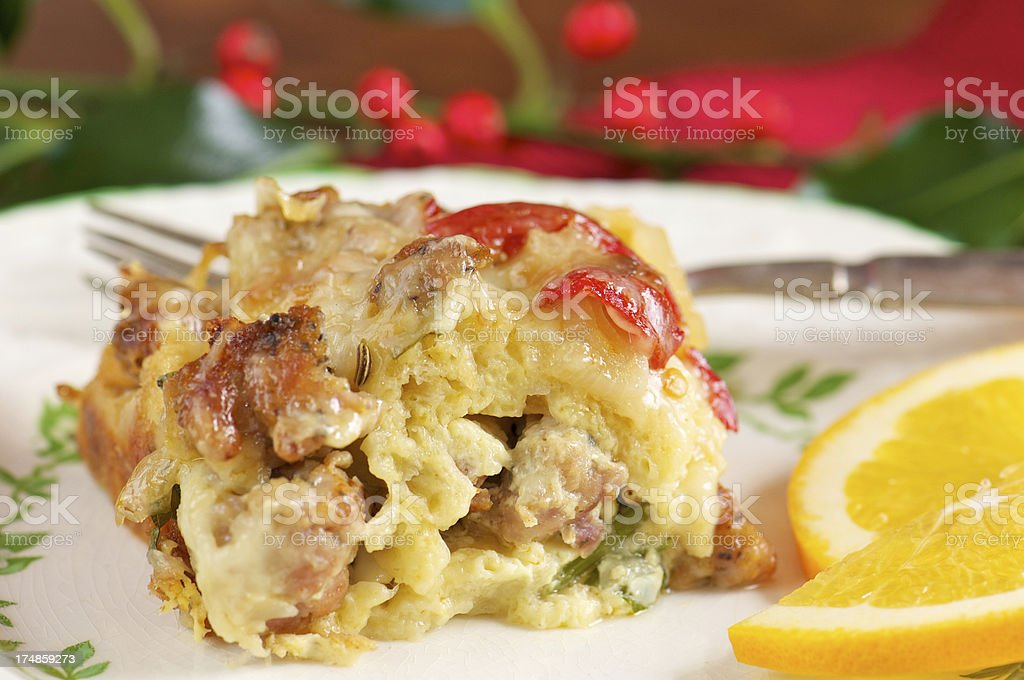 Serving of Sausage Breakfast Casserole stock photo