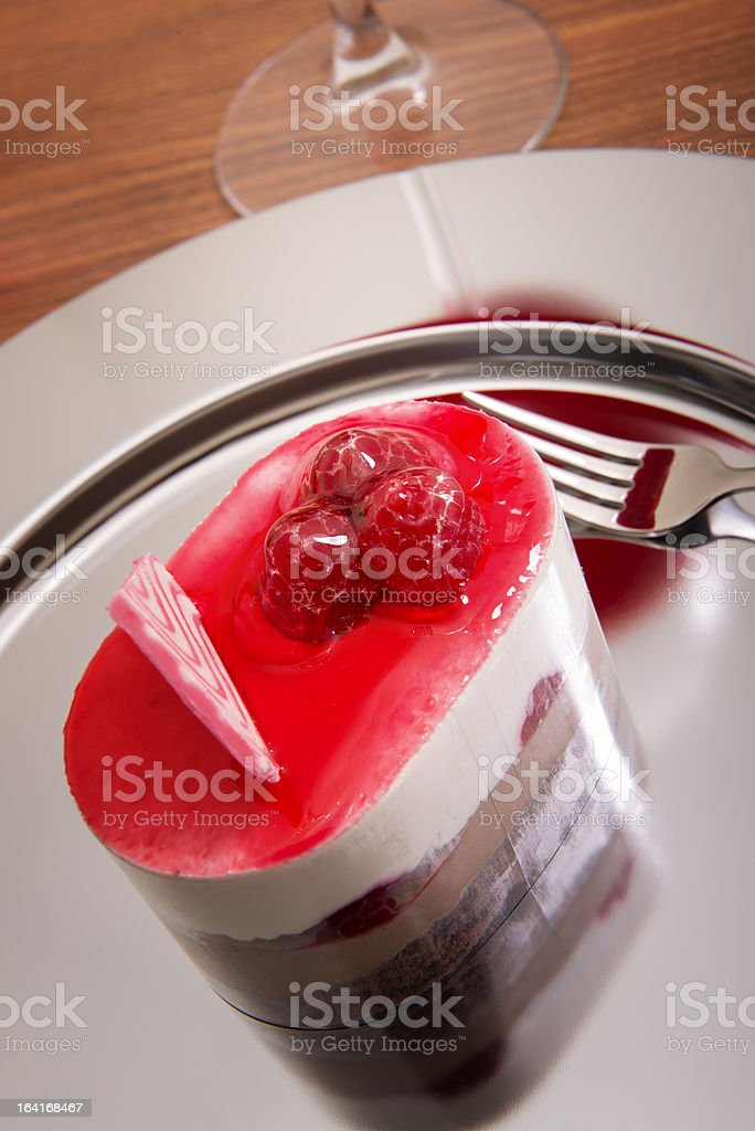 serving of strawberry cake (XXXL) royalty-free stock photo