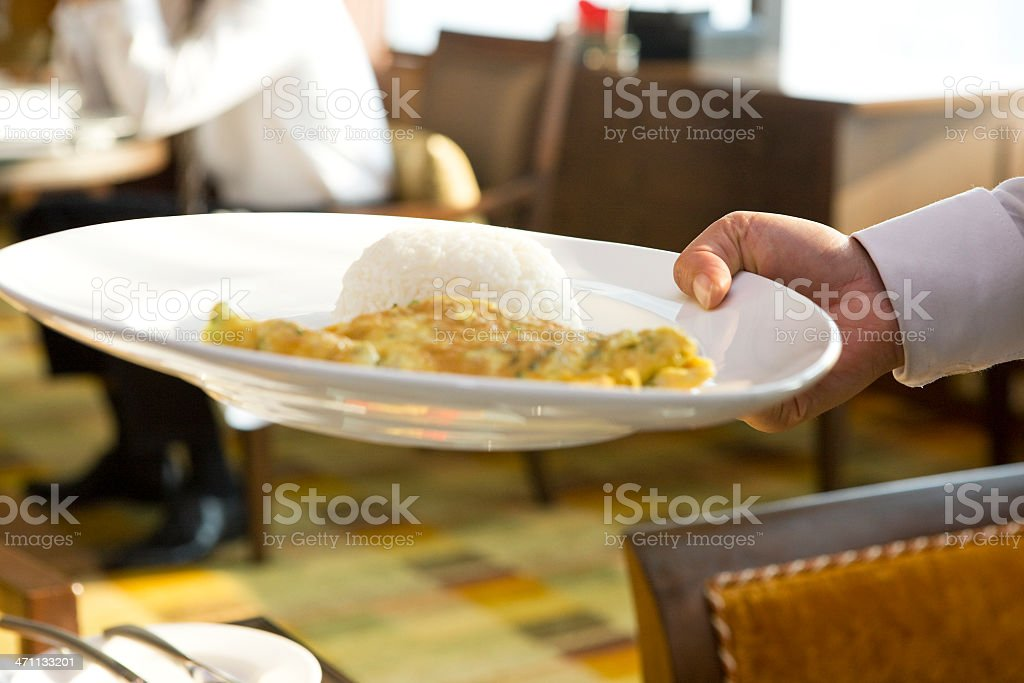 Serving omelet and rice royalty-free stock photo