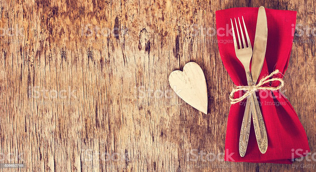 Serving on Valentine's Day. stock photo