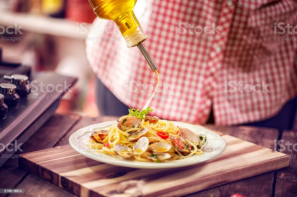 Serving Spaghetti alla Vongole on a Plate stock photo