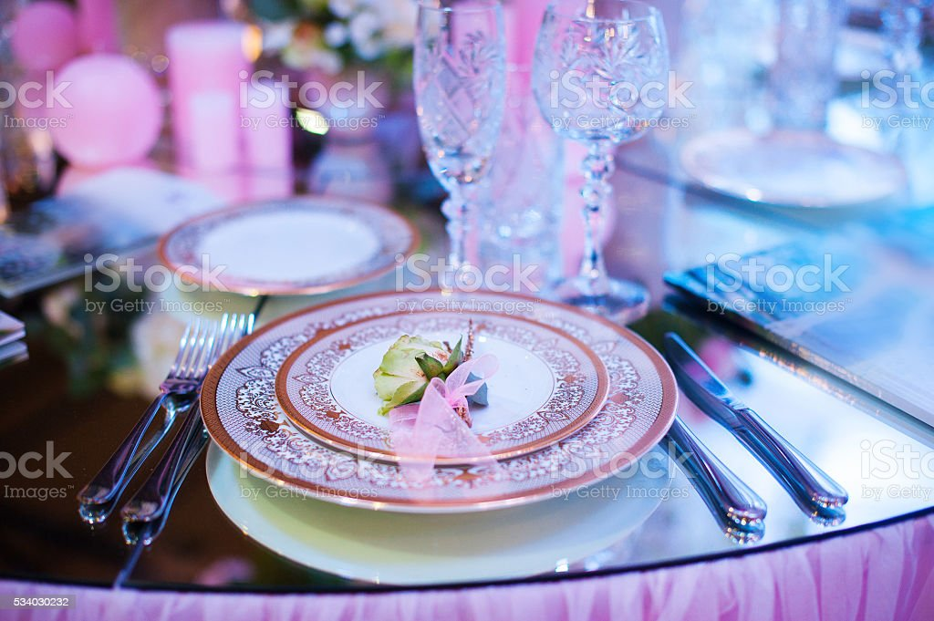 Serving table prepared for event party or wedding stock photo