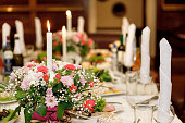 Serving table prepared for event party or wedding. Soft focus,