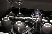 Serving table ware set in the hotel room, black tone