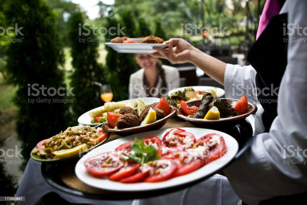 Serving tasteful food XXL stock photo