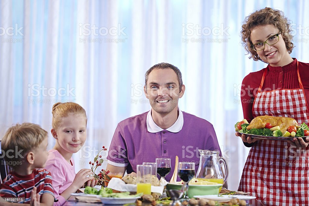 Serving Thanksgiving dinner royalty-free stock photo