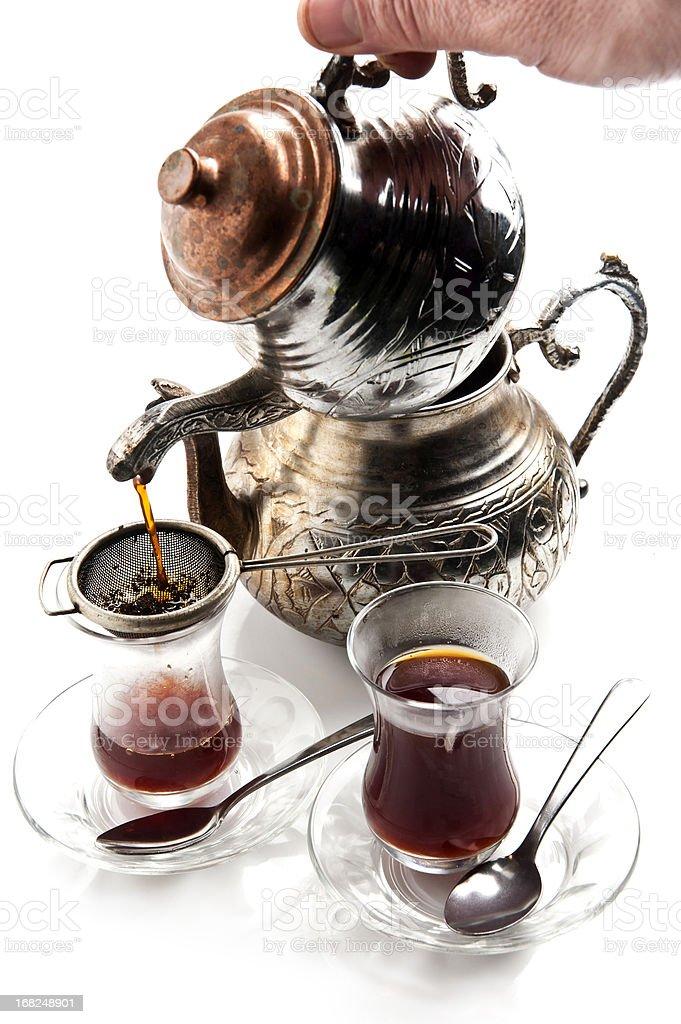 Serving Turkish tea royalty-free stock photo