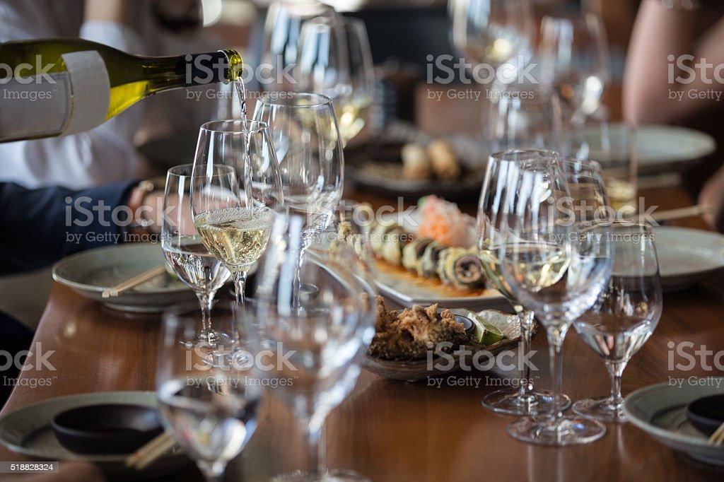 Serving wine in restaurant stock photo