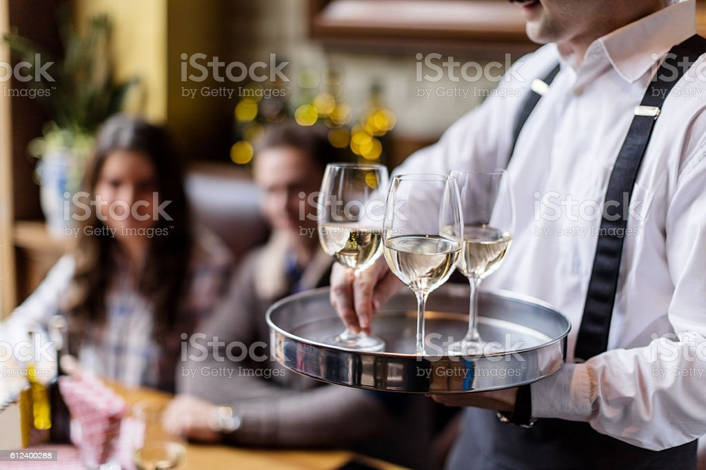 Serving wine stock photo