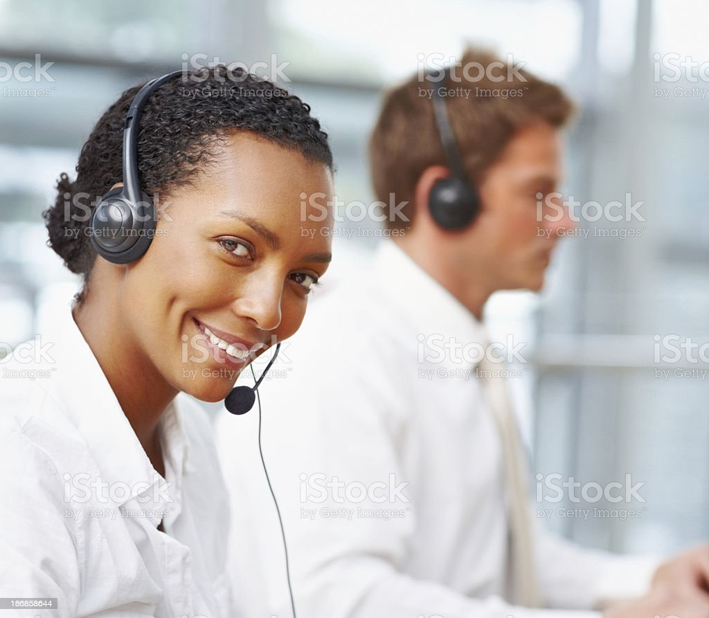 Serving with a smile royalty-free stock photo