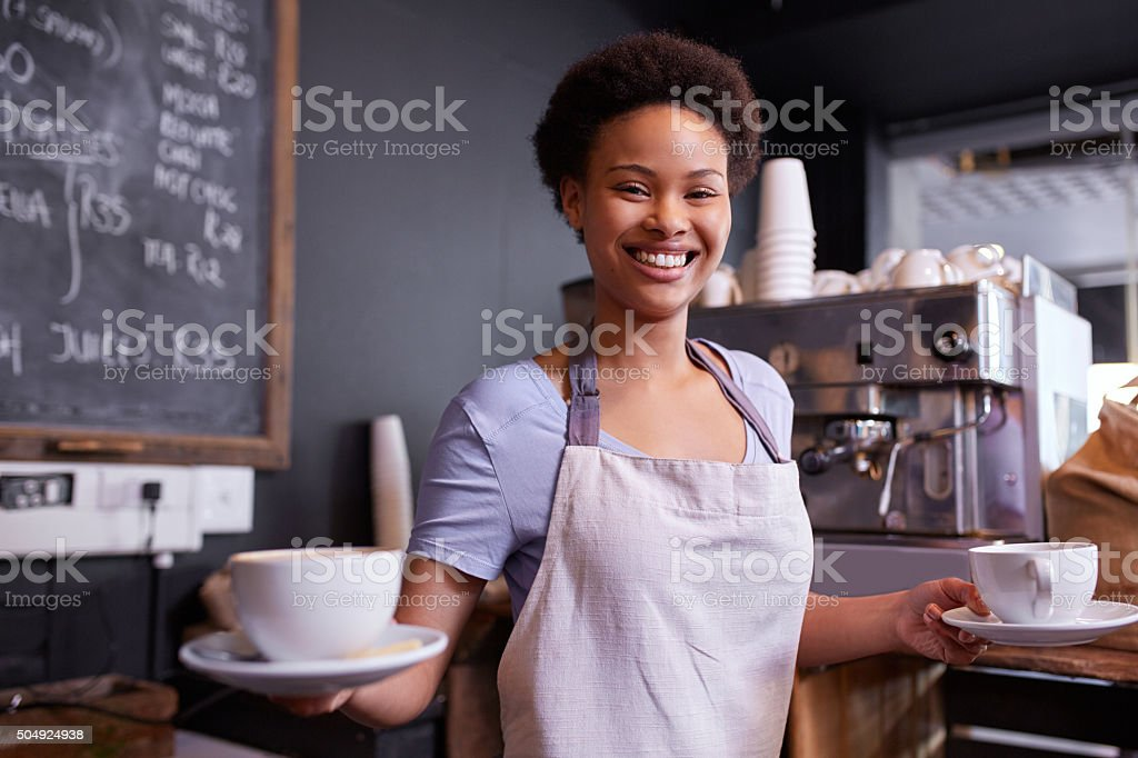 Serving you with a smile stock photo
