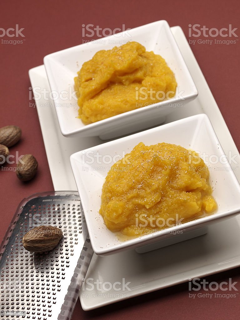 Servings of Winter Squash Puree royalty-free stock photo