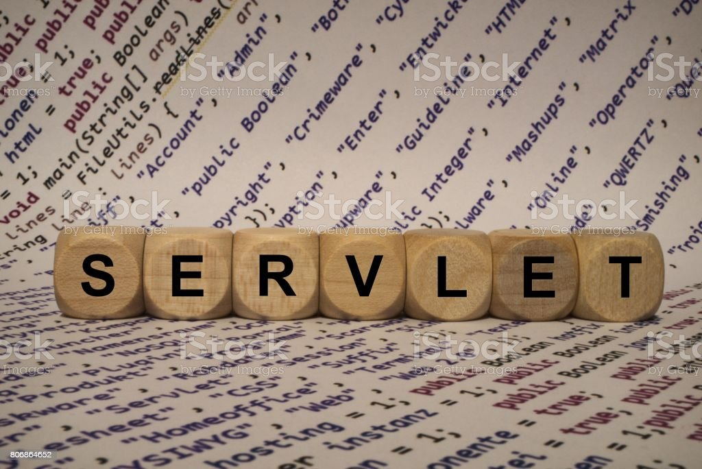 servlet - cube with letters and words from the computer, software, internet categories, wooden cubes stock photo