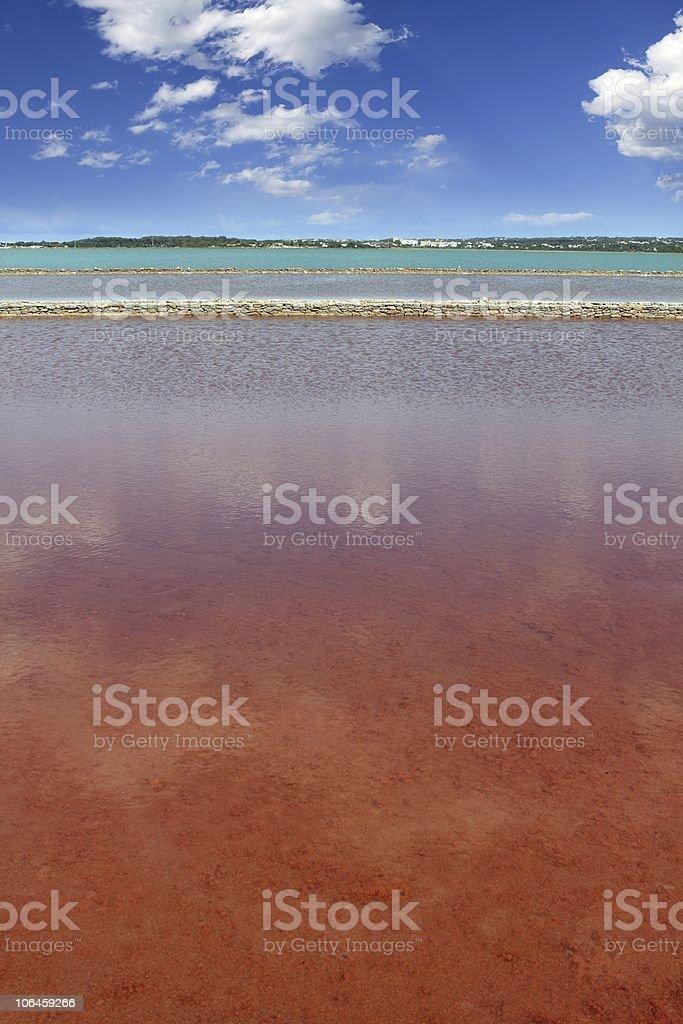 Ses Salines Formentera colorful saltworks horizon royalty-free stock photo