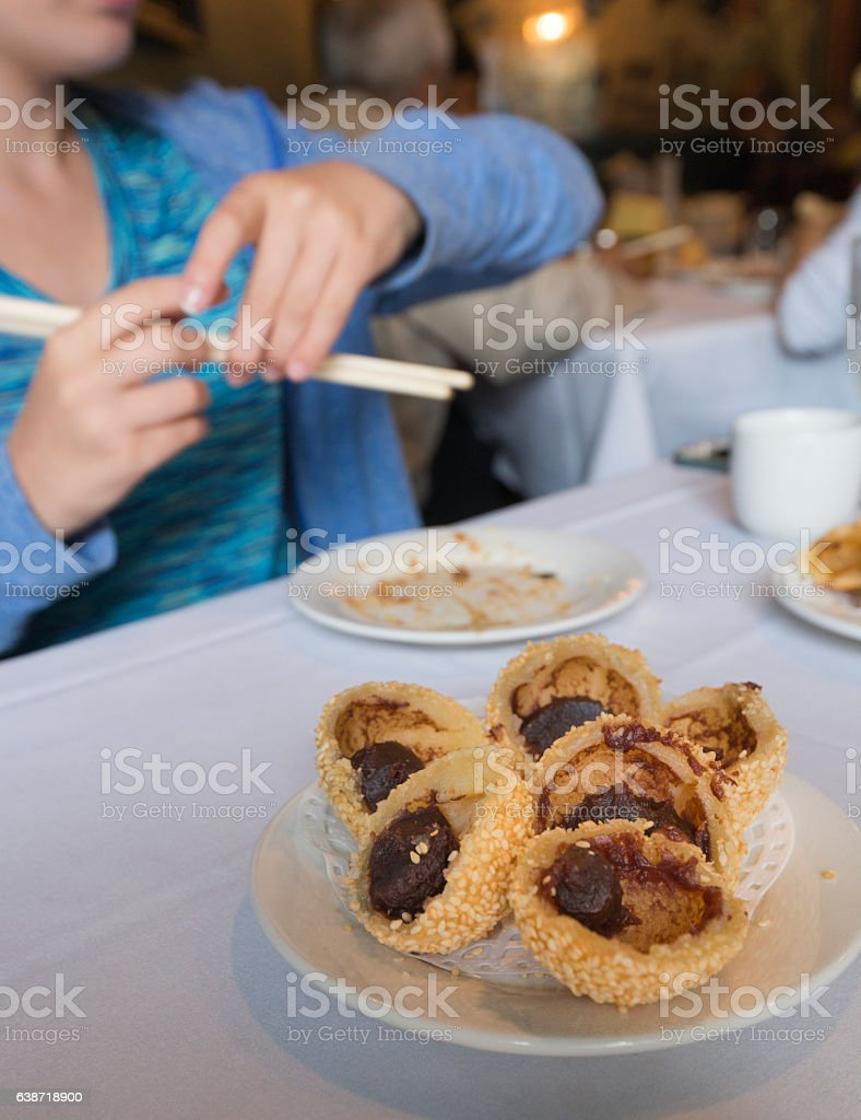 Sesame balls filled with red bean paste stock photo