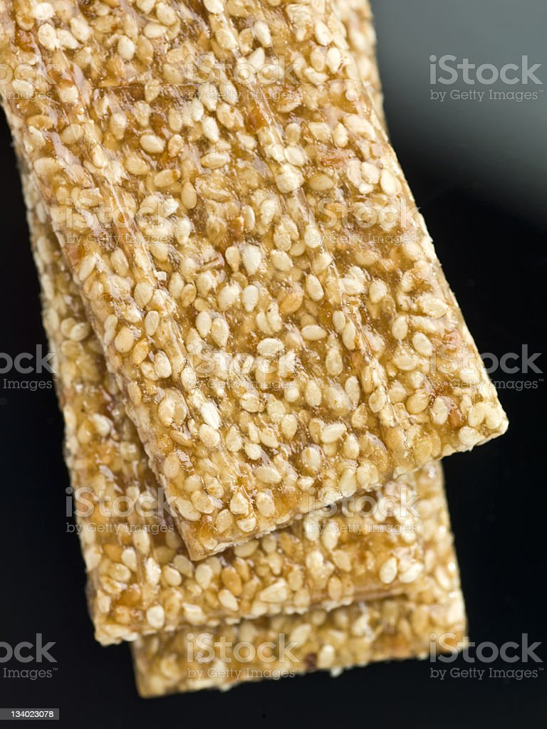 Sesame bar with molasses royalty-free stock photo