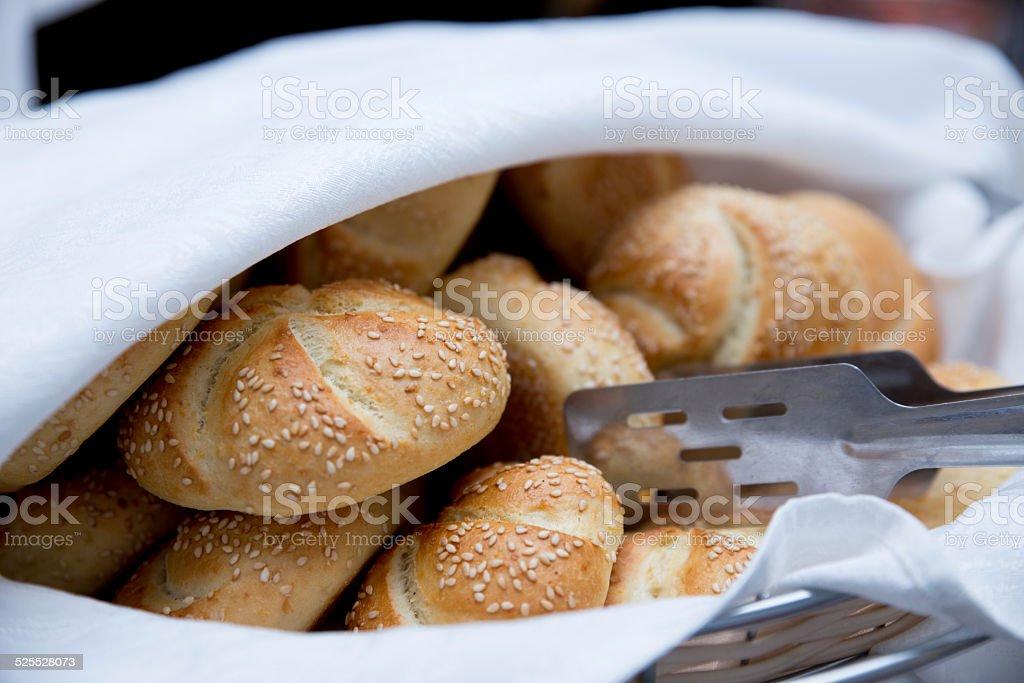Sesame bread in basket stock photo