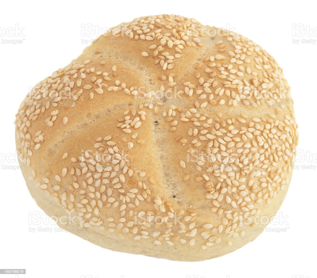 sesame bun on white background royalty-free stock photo