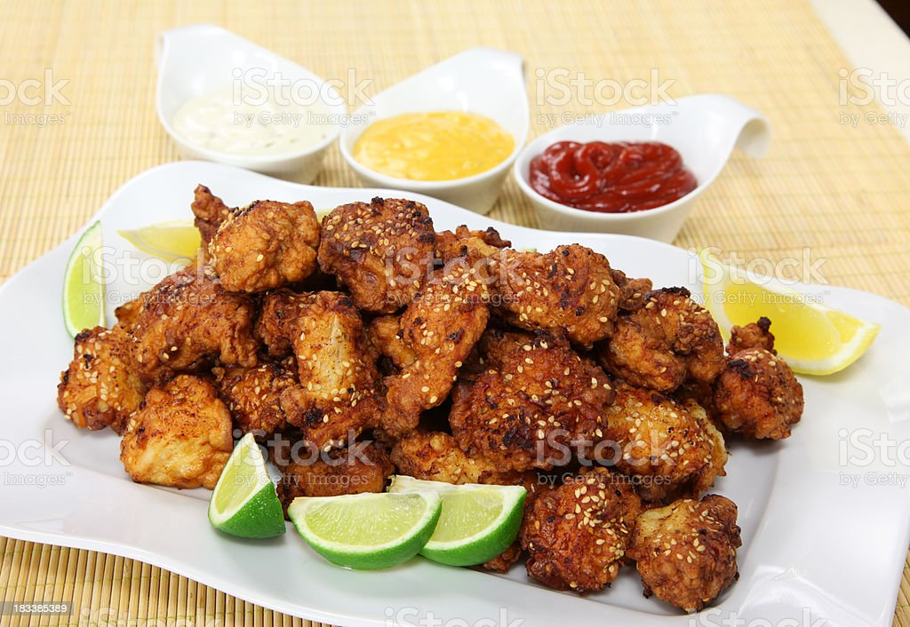 Sesame Chicken Nuggets royalty-free stock photo
