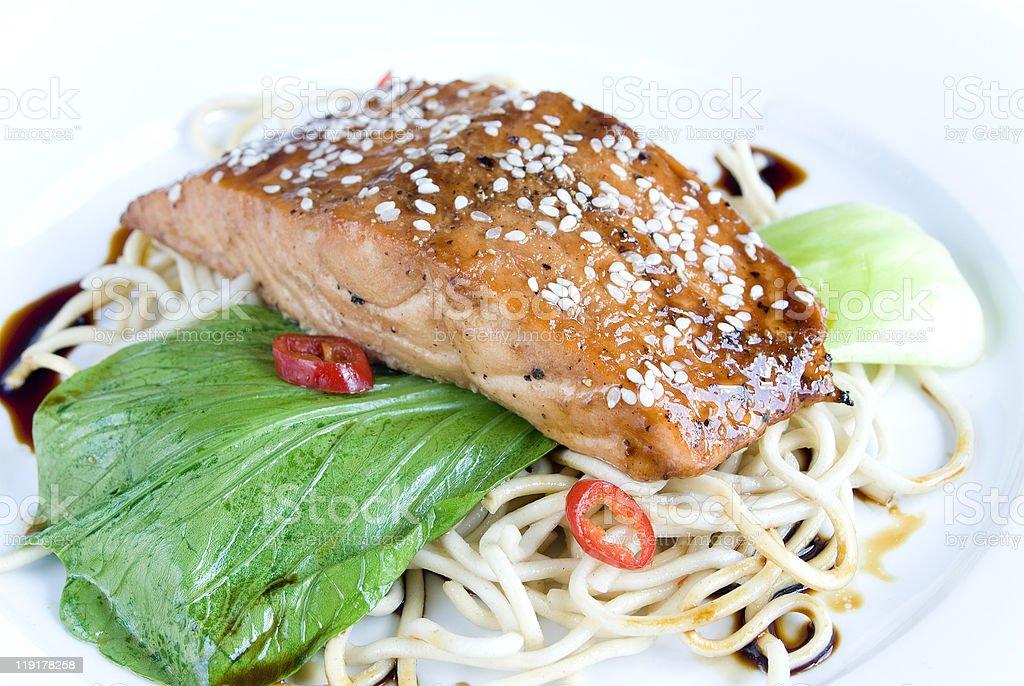 Sesame crusted salmon royalty-free stock photo