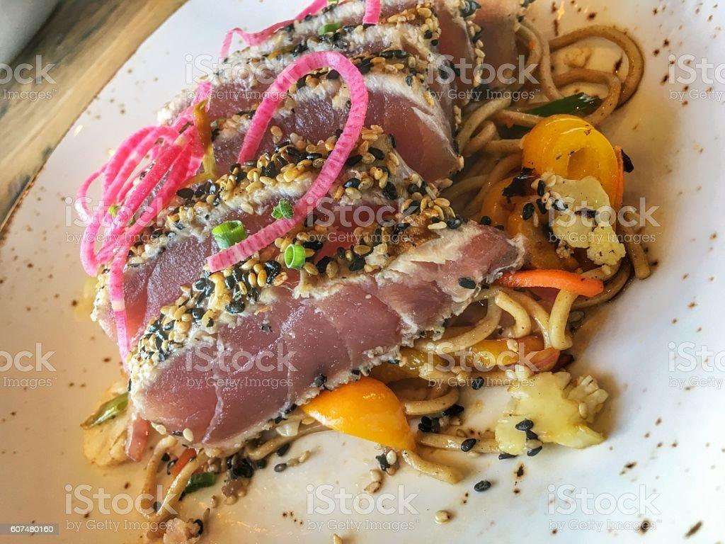 Sesame encrusted yellowfin tuna stock photo