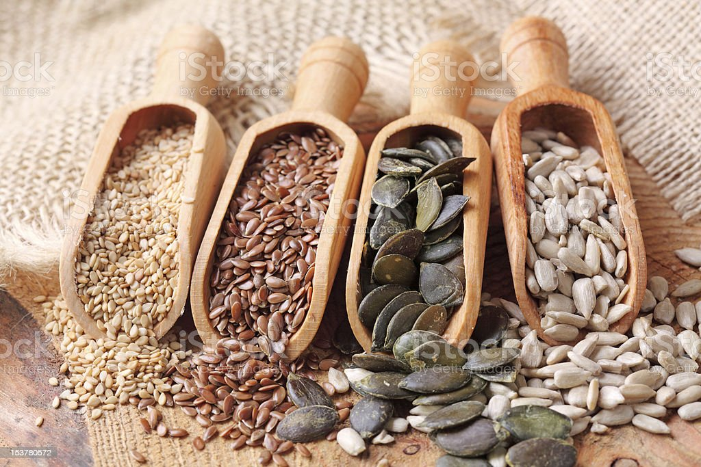 Sesame, flax, pumpkin and sunflower seeds royalty-free stock photo