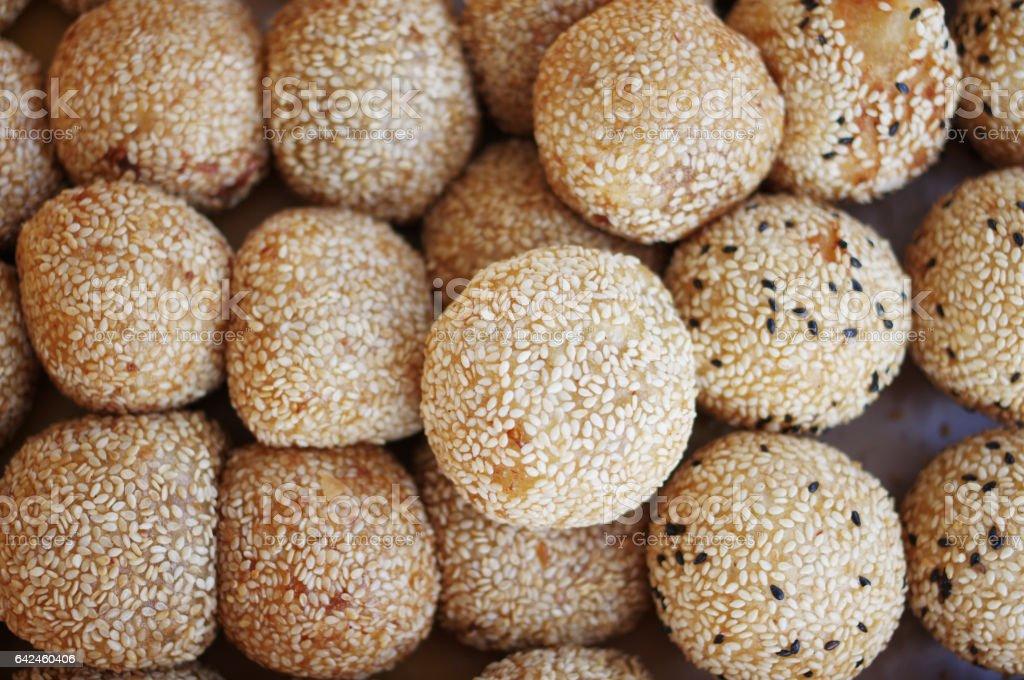 Sesame glutinous rice balls stock photo