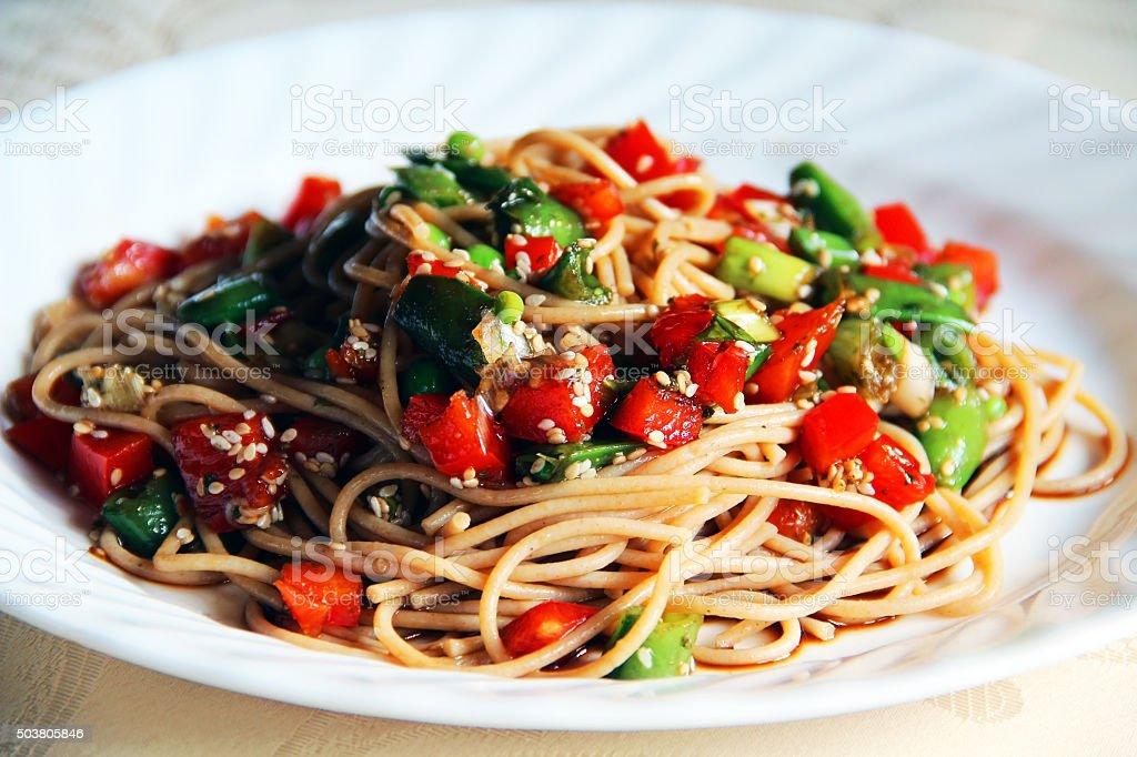 Sesame Noodles stock photo