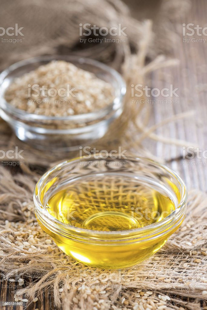 Sesame Oil in a small bowl stock photo