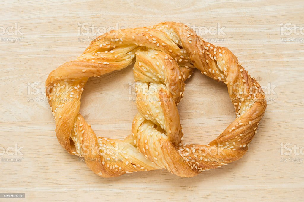 Sesame Pretzel bakery butter.. stock photo