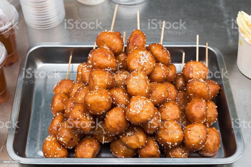 Sesame rice balls skewers stock photo