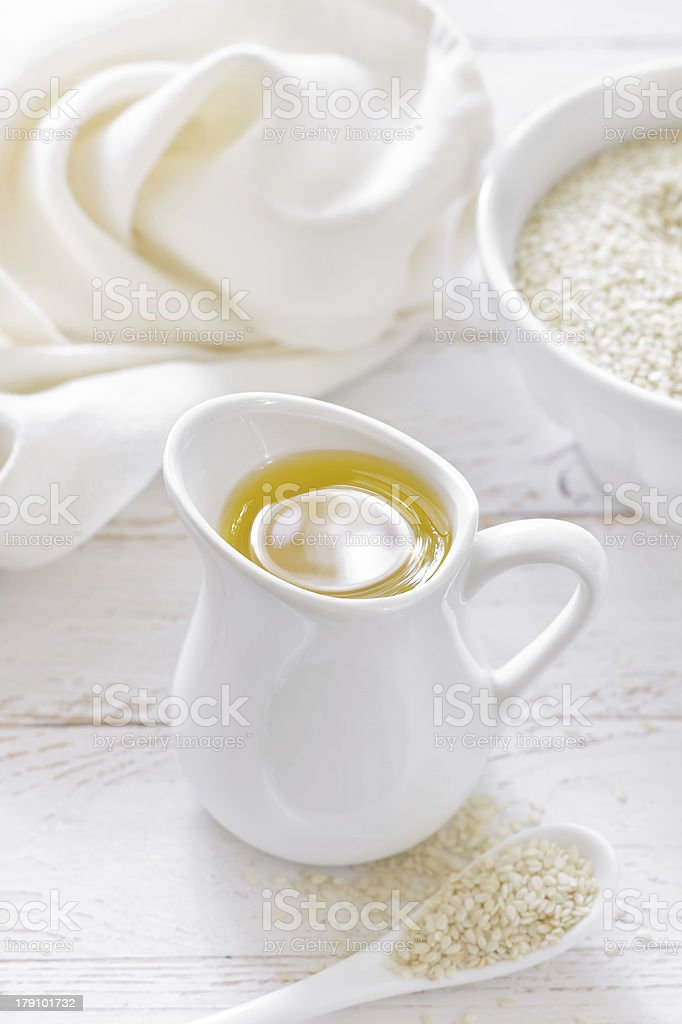 Sesame seed and oil stock photo