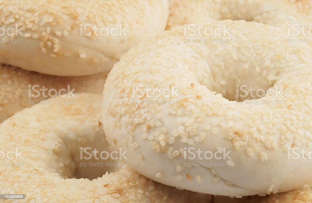 Sesame seed bagels. stock photo