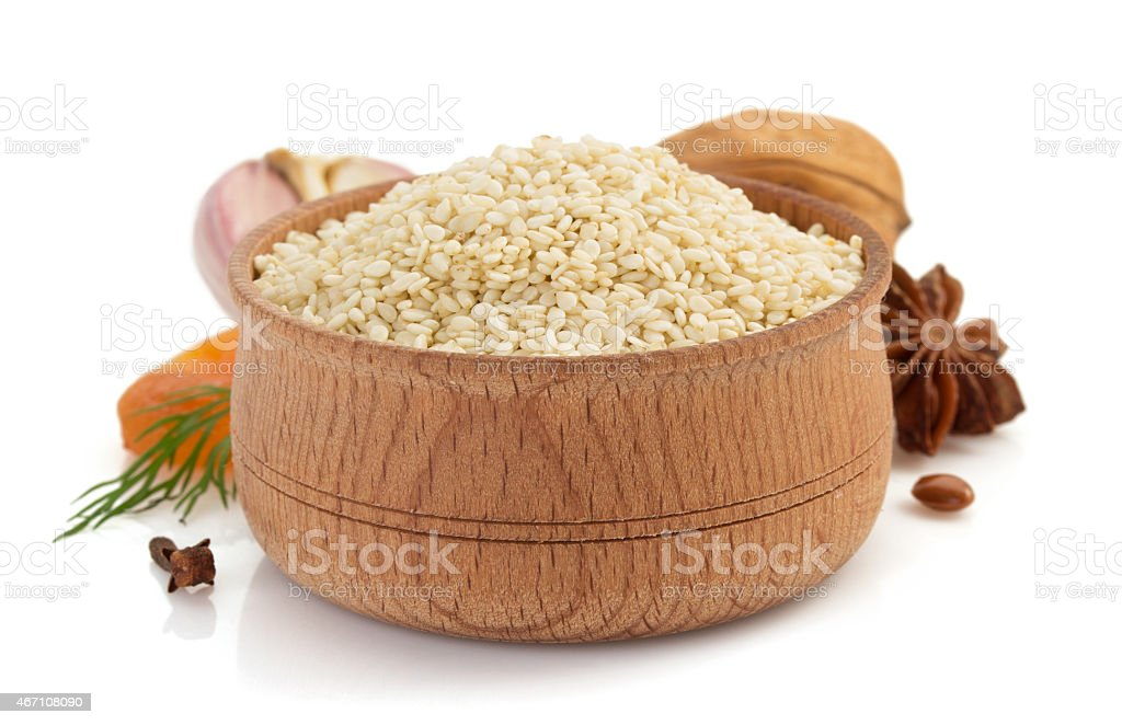sesame seed on white background stock photo
