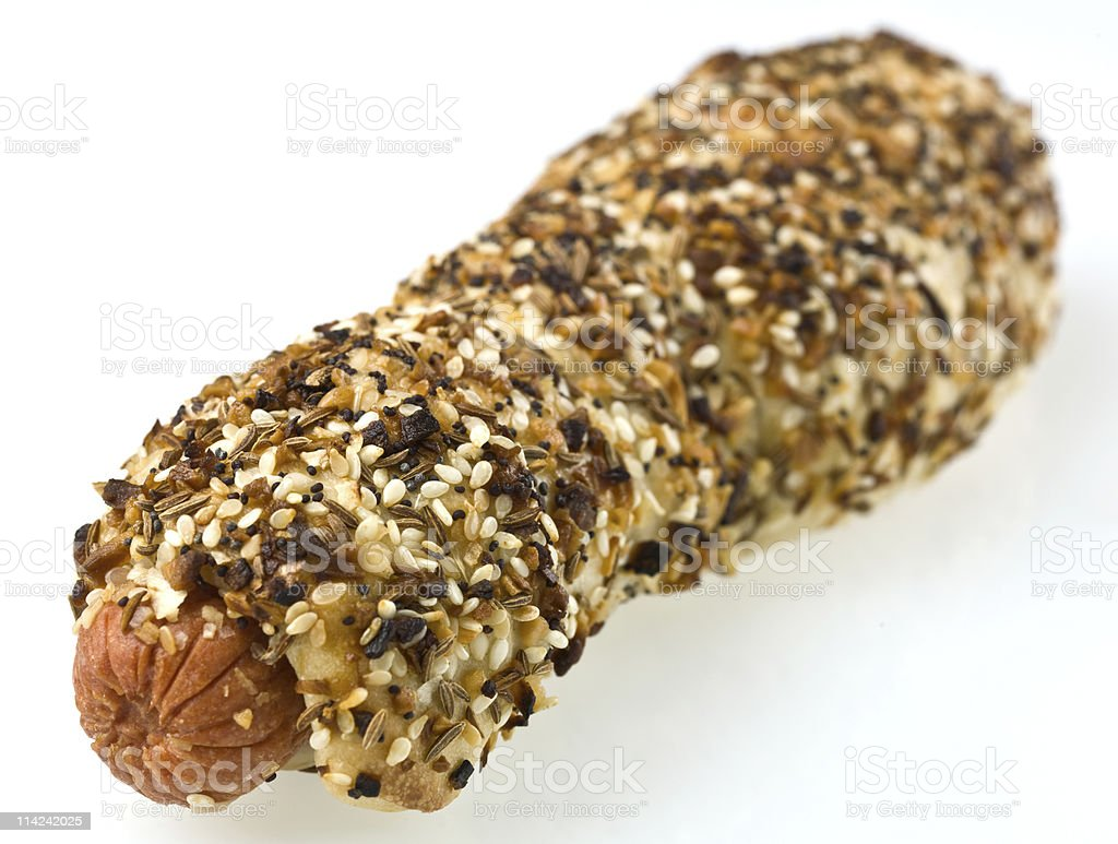 sesame seeds bagel hotdog royalty-free stock photo