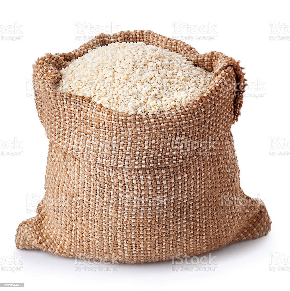 sesame seeds in bag close-up stock photo