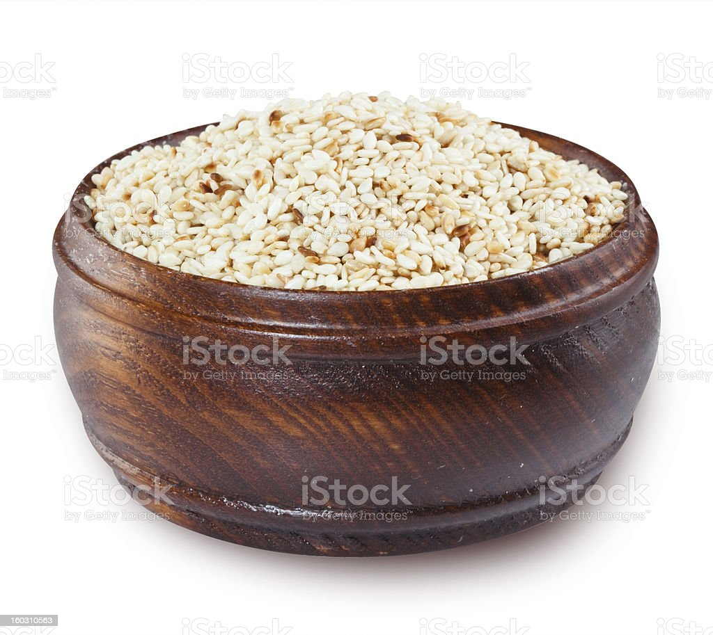 Sesame seeds on white. Clipping path royalty-free stock photo