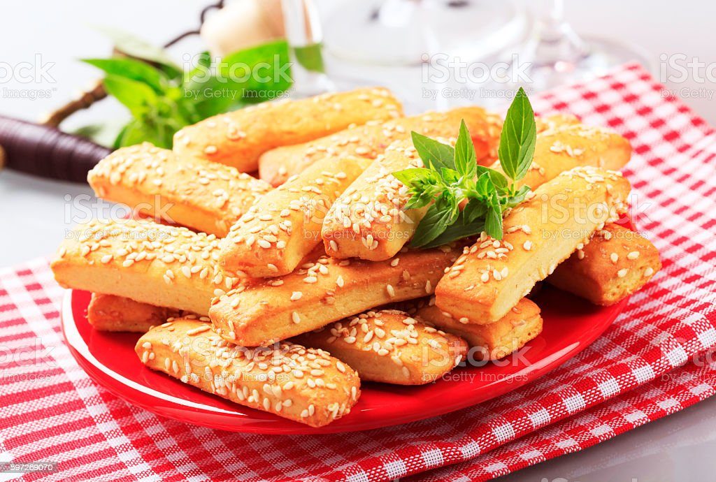 Sesame stick snacks stock photo