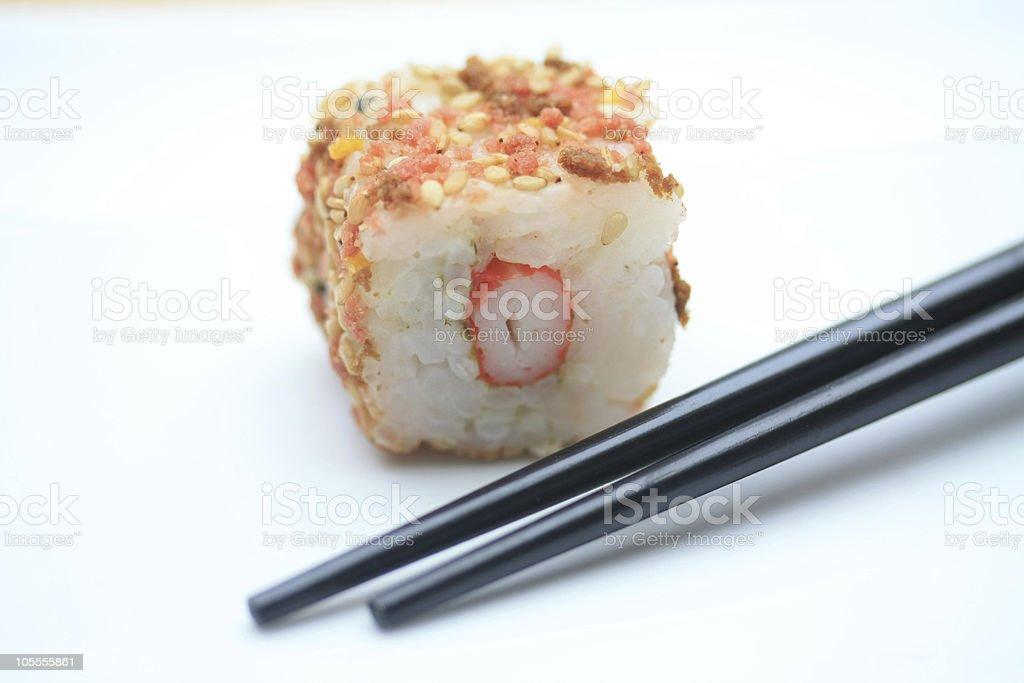 sesame sushi and chopsticks royalty-free stock photo