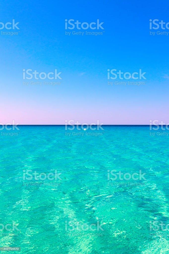 SUMMER SESCAPE.White buoy on clear blue sea,Salento.- ITALY (Apulia)- stock photo