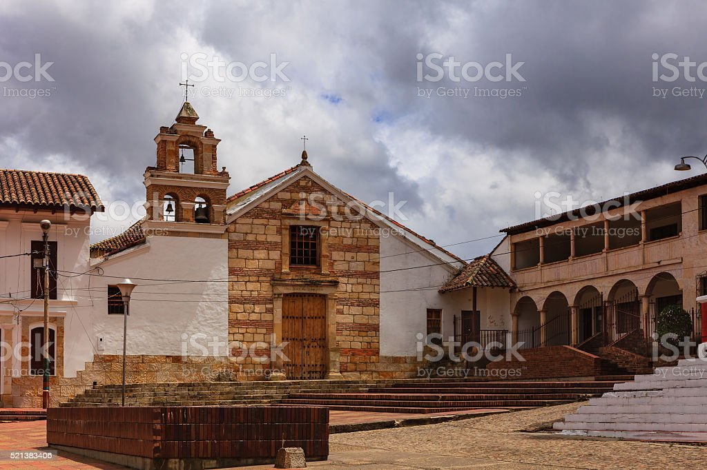 Sesquilé, Colombia - colonial Spanish architecture on main square stock photo