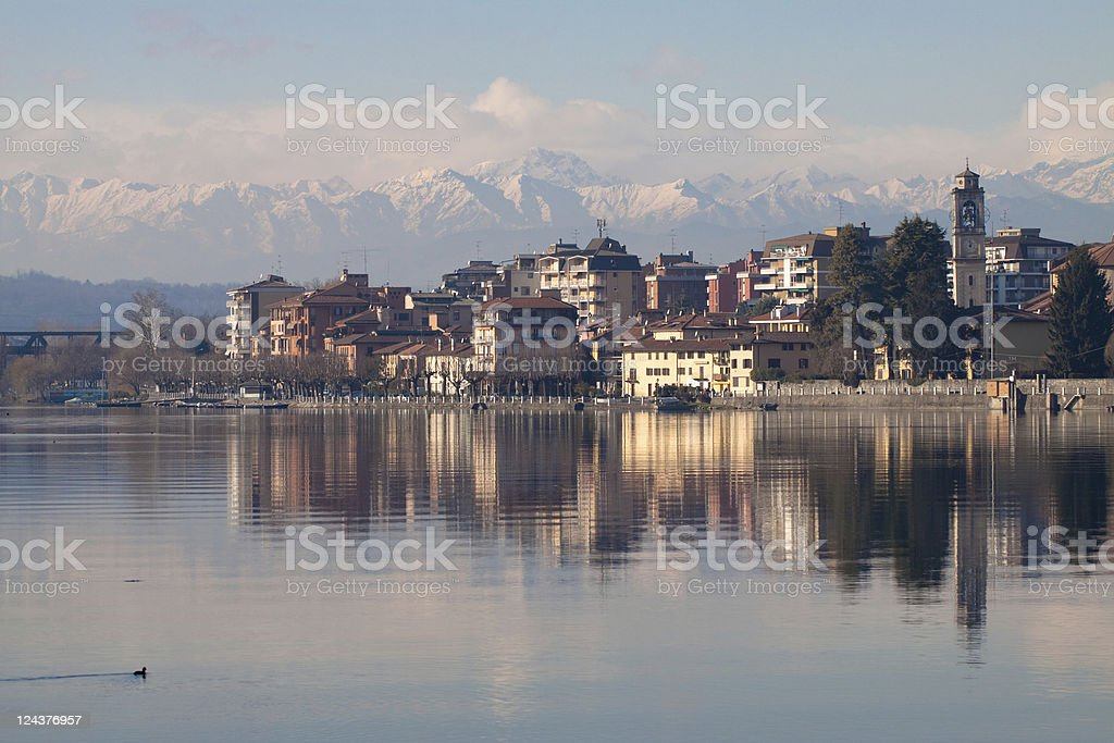 Sesto Calende Landscape with Blue Sky, Italian Lake District stock photo