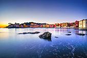 Sestri Levante, silence bay rocks, sea  beach view on sunset.
