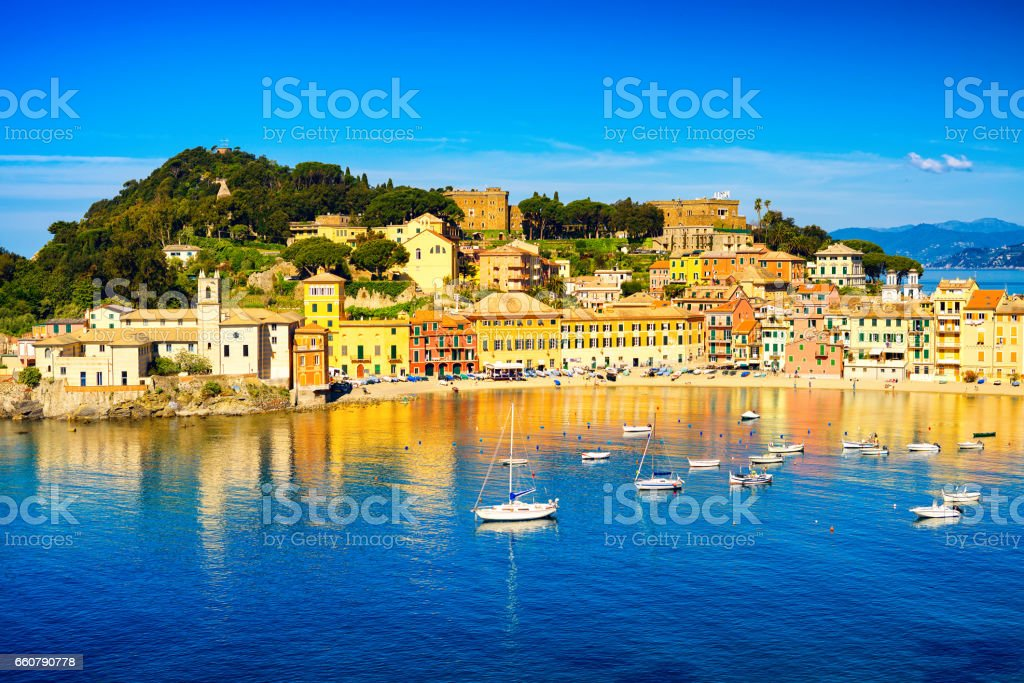 Sestri Levante, silence bay sea harbor and beach view. Liguria, Italy stock photo