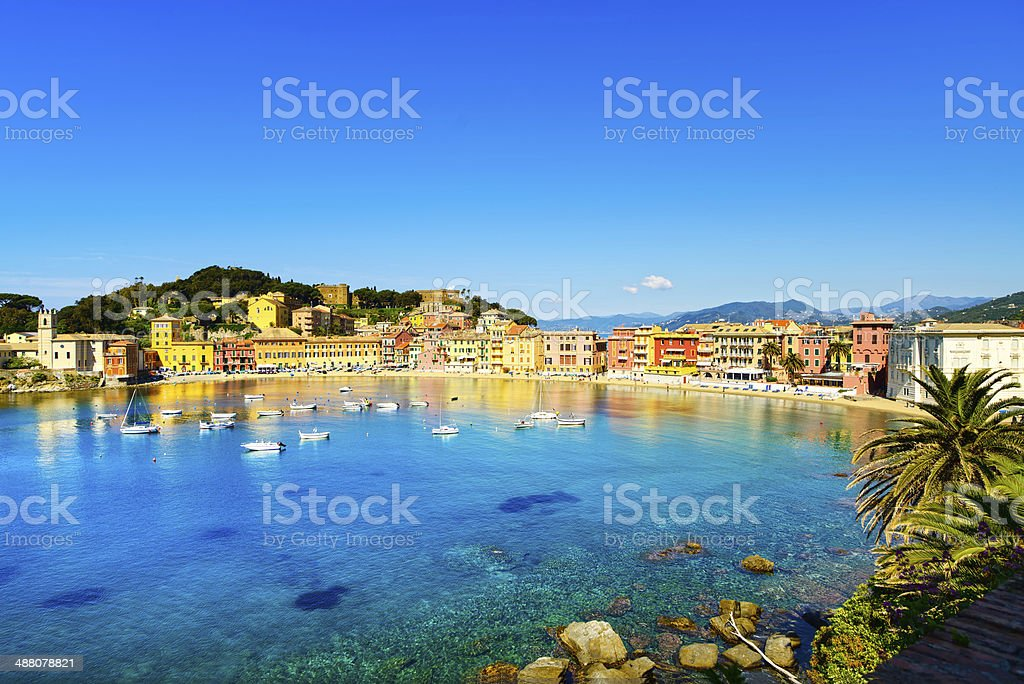 Sestri Levante, silence bay sea harbor and beach view. Liguria, stock photo