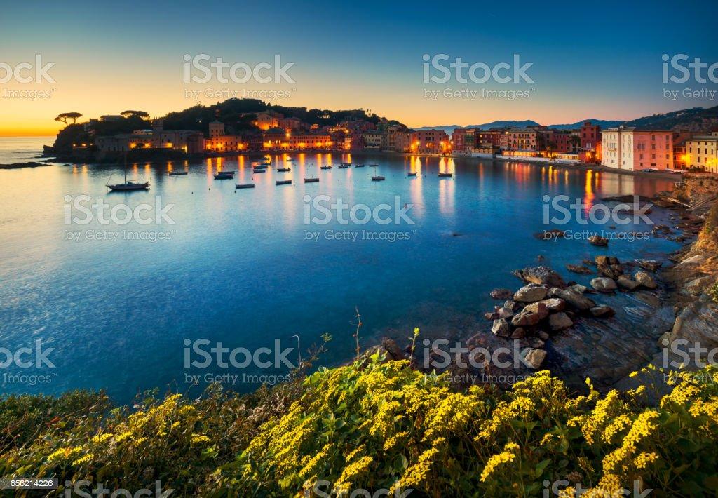 Sestri Levante, silence bay sea harbor and beach view on sunset. Liguria, Italy stock photo