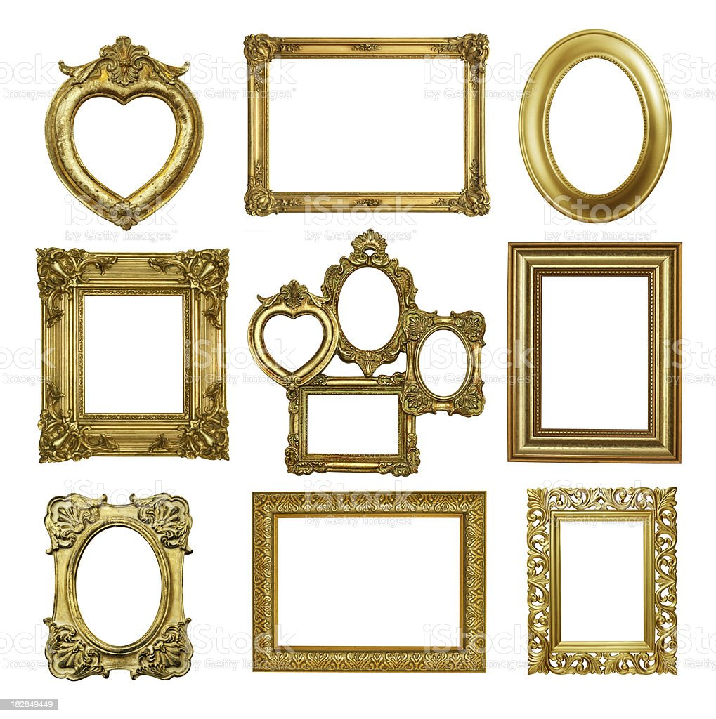 Set 2  Of Antique Gold Frames royalty-free stock photo