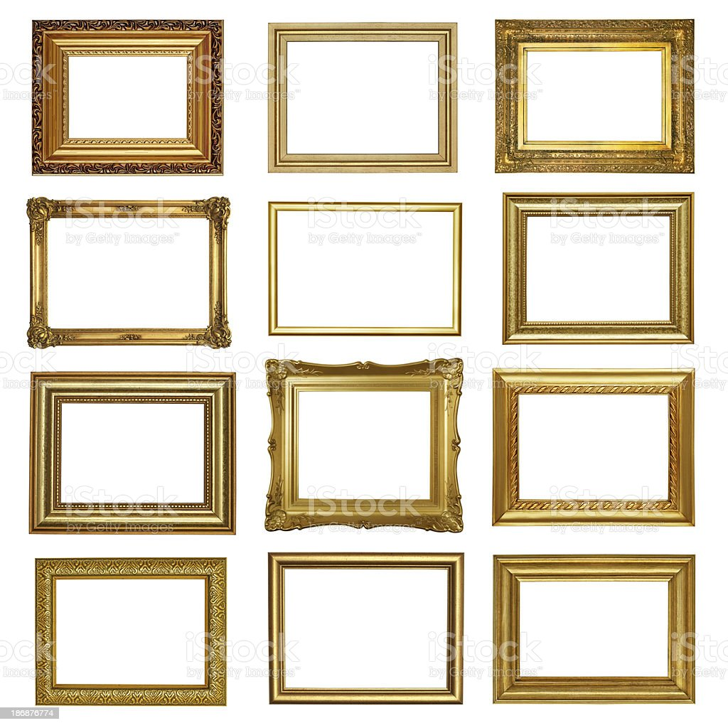 Set 6 Of Antique Gold Frames stock photo